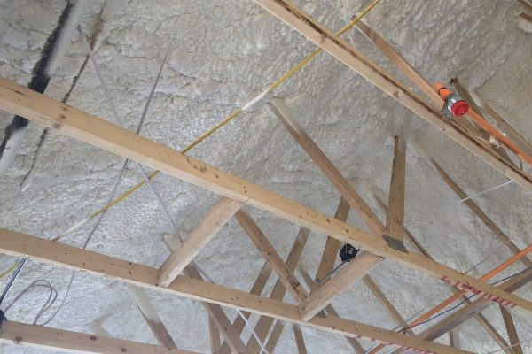Close-up of cathedralized ceiling insulation