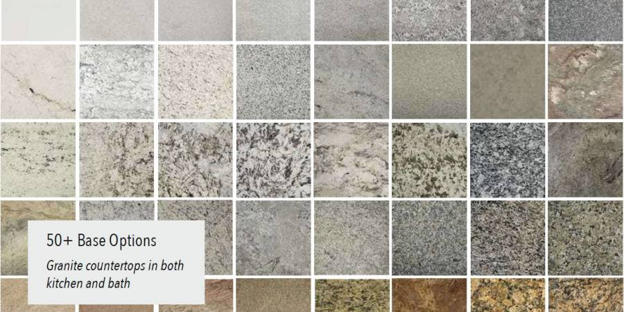 Over 50 standard granite options