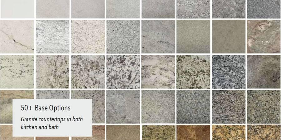 Over 50 standard granite options