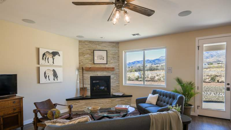 Living room and fireplace in Scion